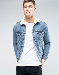 New Look Denim Jacket With Borg Collar In Mid Wash Blue