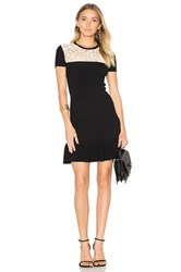 Red Valentino Short Sleeve Drop Waist Mini Dress Black