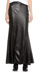 Blank Vegan Leather Mermaid Maxi Skirt Black