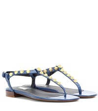 Balenciaga Giant Studded Leather Sandals Blue