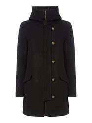 Sessun Hooded Wool Coat With Button Front Black