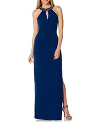 Laundry By Shelli Segal Beaded Neckband Long Gown Midnight