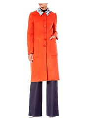 Carolina Herrera Wool Embellished Collar Coat Tangello