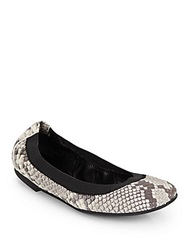 Ash Hypnotic Snake Embossed Leather Ballet Flats Roccia