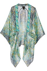 Anna Sui Embroidered Printed Silk Blend Kimono Turquoise
