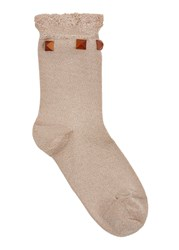 Pierre Mantoux Fresia Ruffle Trim Jersey Socks Gold