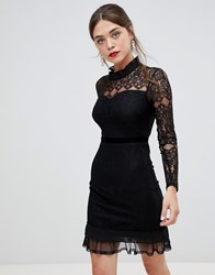 Frock And Frill High Neck Long Sleeve Lace Dress With Velvet Piping Black