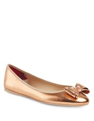 Ted Baker Immet Leather Ballerina Flats Rose Gold