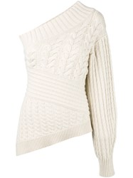 Burberry Cable Knit Asymmetric Jumper Women Cashmere L Nude Neutrals