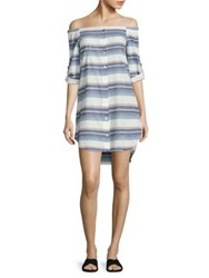 Bella Dahl Off The Shoulder Striped Shirt Dress Still Water