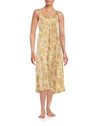 N Natori Flourish Patterned Nightgown Beige