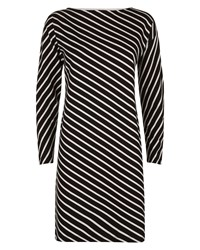Jaeger Diagonal Breton Stripe Dress Black