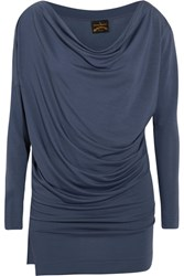 Vivienne Westwood Anglomania Draped Stretch Jersey Top Storm Blue