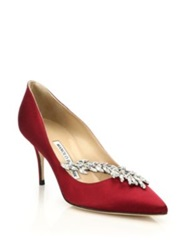 Manolo Blahnik Nadira Crystal Detailed Satin Pumps Green Bordeaux Navy Pink Black