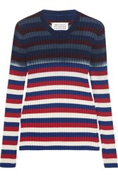 Maison Martin Margiela Striped Ribbed Cotton Sweater Navy