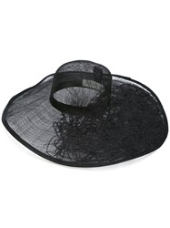 Isabel Benenato Wide Brim Hat Women Cotton Straw M Black