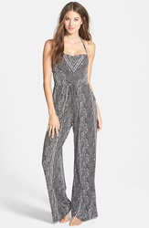 Robin Piccone Print Halter Jumpsuit Cover Up Black White