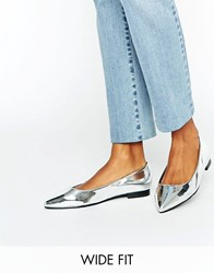 Asos Lacey Wide Fit Pointed Ballet Flats Silver