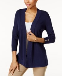 Charter Club Honeycomb Stitch Open Front Cardigan Only At Macy's Intrepid Blue