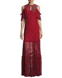 Nanette Lepore Embellished Cold Shoulder Lace Gown Crimson