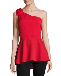 Marled By Reunited One Shoulder Bow Peplum Top Red