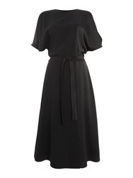 Marella Okra Flutter Sleeve Shift Dress Black