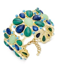 Charter Club Gold Tone Multi Stone Floral Link Bracelet Only At Macy's
