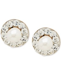 Macy's Cultured Freshwater Pearl 3Mm And Cubic Zirconia Stud Earrings In 14K Gold