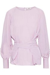 Jason Wu Woman Button Detailed Crinkled Twill Blouse Lavender