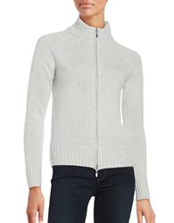 Lord And Taylor Cashmere Zip Front Cardigan Light Grey Heather
