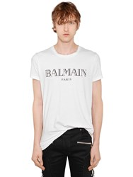 Balmain Logo Printed Cotton Jersey T Shirt White Black