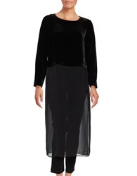 Eileen Fisher Petite Long Sleeve Partially Sheer Dress Black