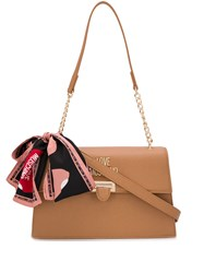 Love Moschino Scarf Detail Saffiano Tote Bag Brown