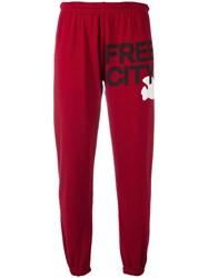 Freecity Logo Print Sweatpants Red