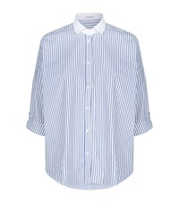 Brunello Cucinelli Striped Chain Trim Shirt Female Blue