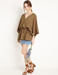 Pixie Market Brown Batwing Gathered Tunic
