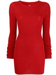Rick Owens Ribbed Round Neck Sweater Red