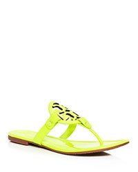 Tory Burch Miller Patent Leather Thong Sandals Fluorescent Yellow
