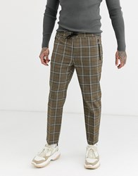 Topman Smart Jogger In Brown Heritage Check Grey