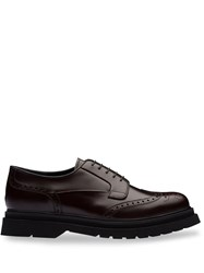 Prada Brushed Leather Derby Shoes Brown