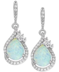 Macy's Lab Created Opal 1 1 2 Ct. T.W. And White Sapphire 1 2 Ct. T.W. Drop Earrings In Sterling Silver
