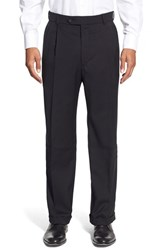 Men's Big And Tall Ballin Pleated Solid Wool Trousers Black