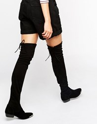 Office Hideout Tipped Stretch Suede Flat Over The Knee Boots Black