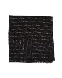 Armani Jeans Gray All Over Signature Printed Scarf Grey