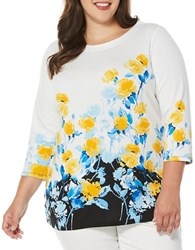 Rafaella Plus Three Quarter Sleeve Boatneck Floral Tunic White Multi