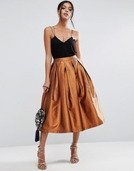 Asos Metallic Prom Skirt Bronze Gold