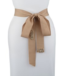 Donna Karan Embellished Self Tie Belt Nude Women's