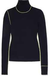 Maison Martin Margiela Embroidered Ribbed Wool Turtleneck Sweater Navy
