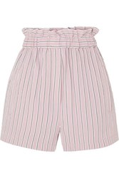Tibi Striped Twill Shorts Blush