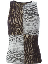 Roberto Cavalli Animal Print Tank Top Black